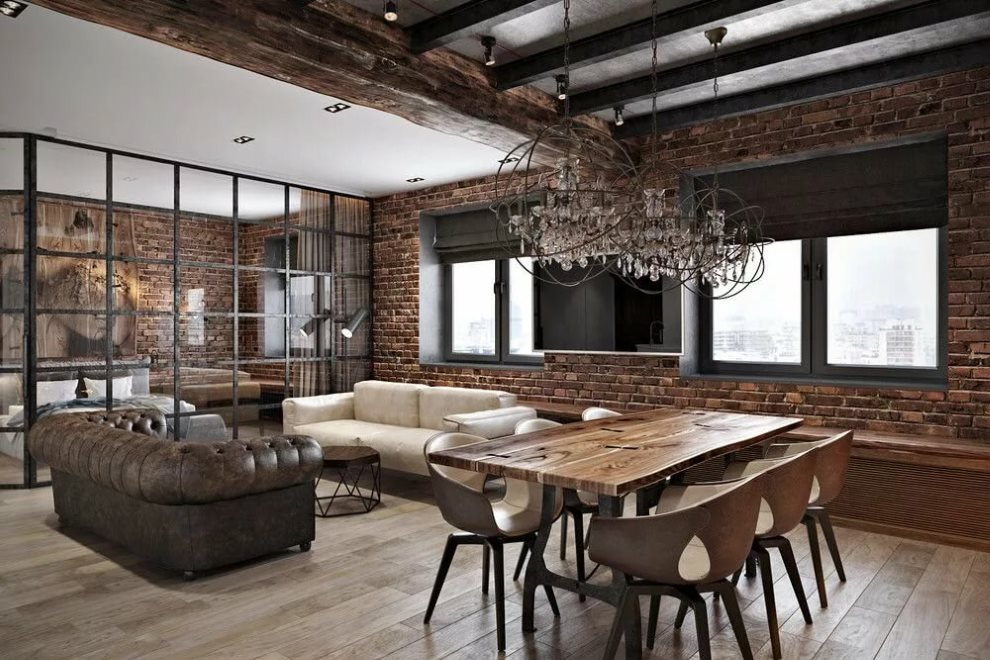 Кирпичная стена в просторной кухне-гостиной