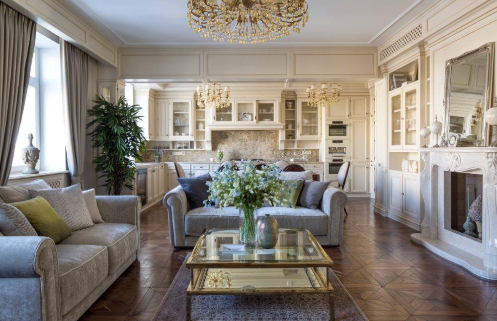 Большая кухня-гостиная в стиле классика