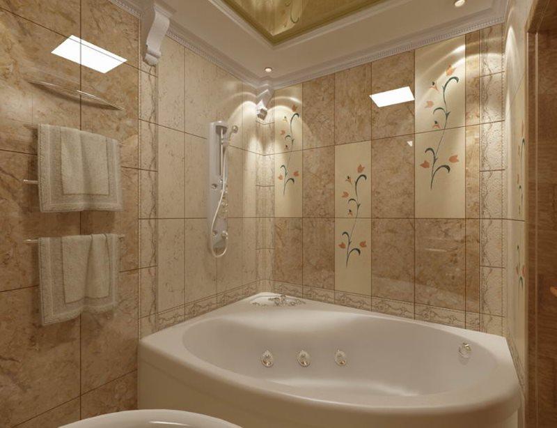 Белая ванна из акрила с гидромассажем