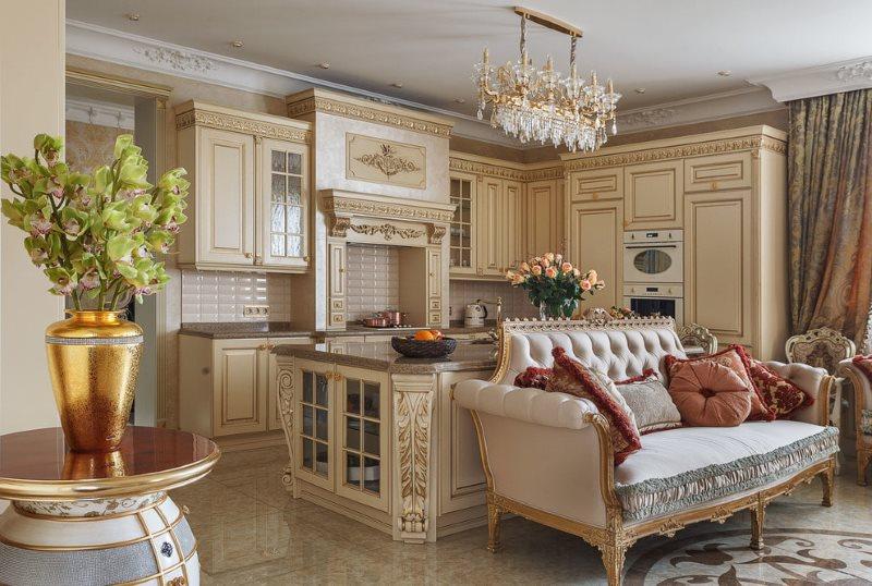 Прямой диван на деревянном каркасе в кухне-гостиной