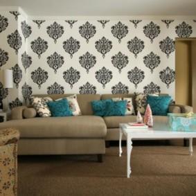 комбинирование обоев в гостиной дизайн