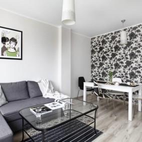 комбинирование обоев в гостиной фото дизайн