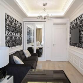 комбинирование обоев в гостиной фото дизайна