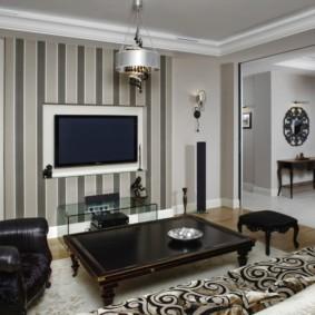 комбинирование обоев в гостиной фото оформление