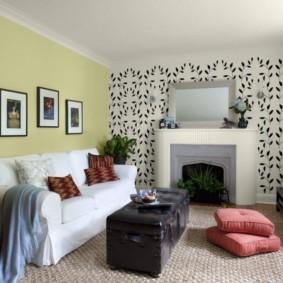 комбинирование обоев в гостиной идеи дизайна