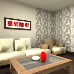комбинирование обоев в гостиной интерьер фото