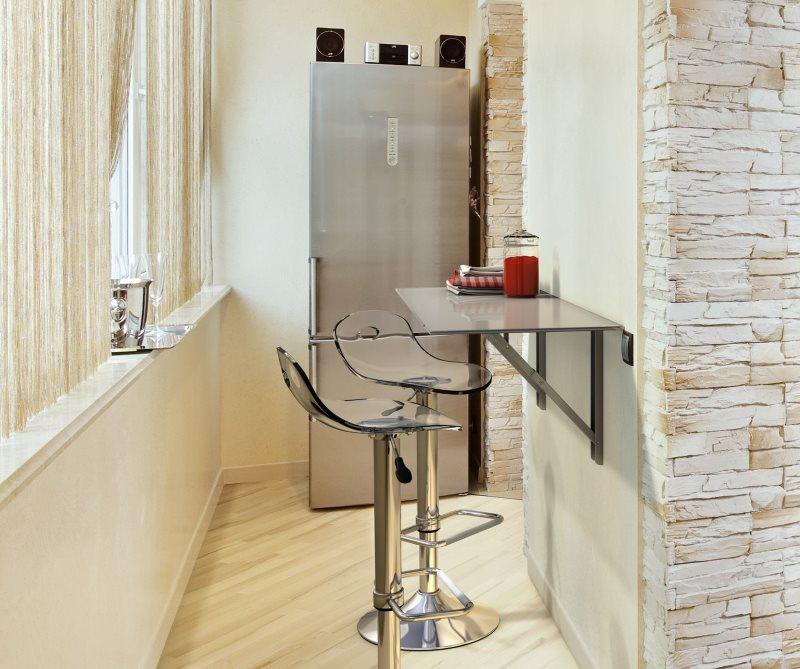 Узкие барный столик из закаленного стекла