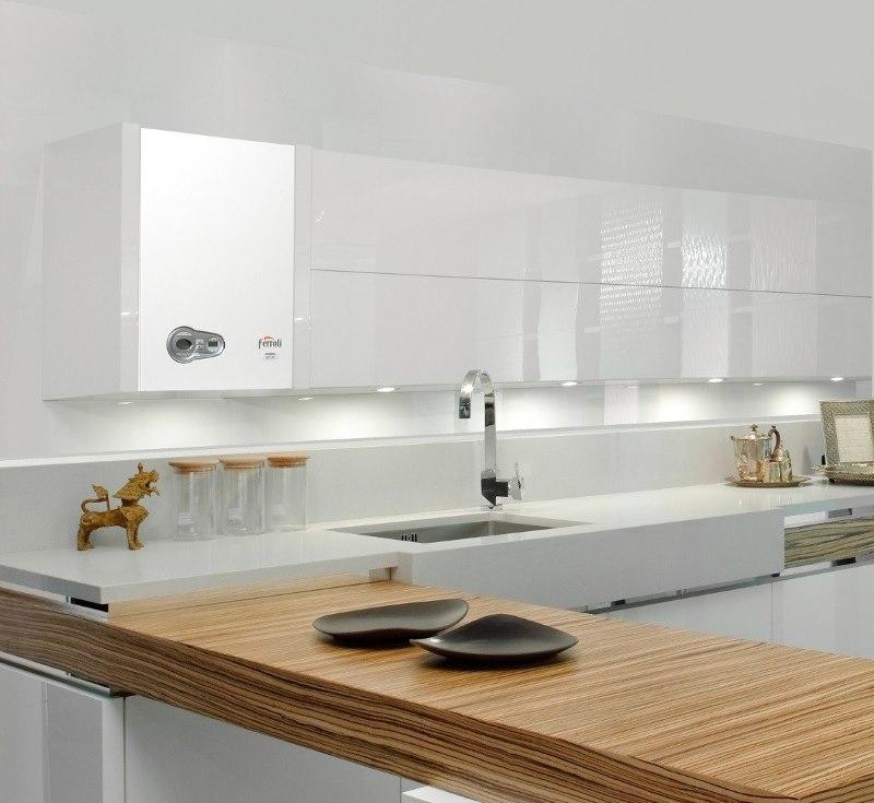Газовый котел в интерьере кухни стиля хай-тек