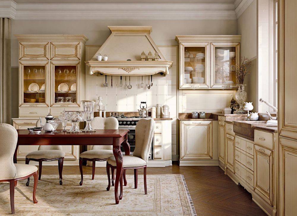 Гарнитур с молдингами на фасадах в классической кухни