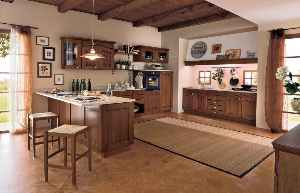 Циновка на полу кухни в загородном доме