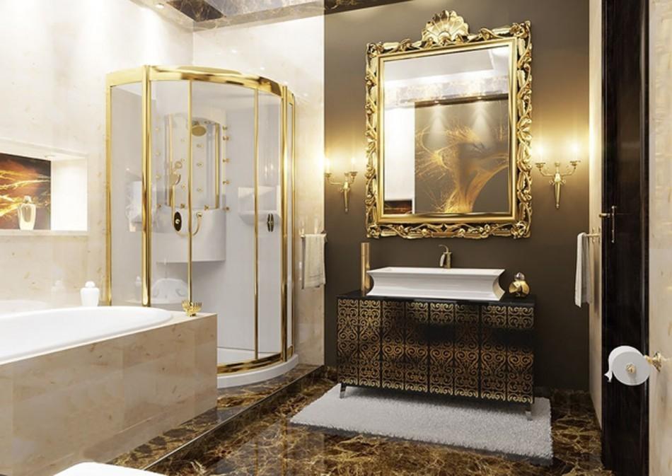 Позолоченная оправа зеркала в ванной комнате