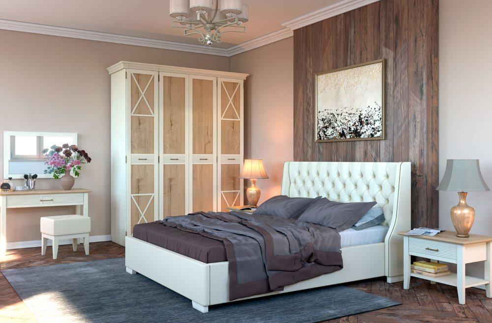 Белая кровать в спальне стиля кантри
