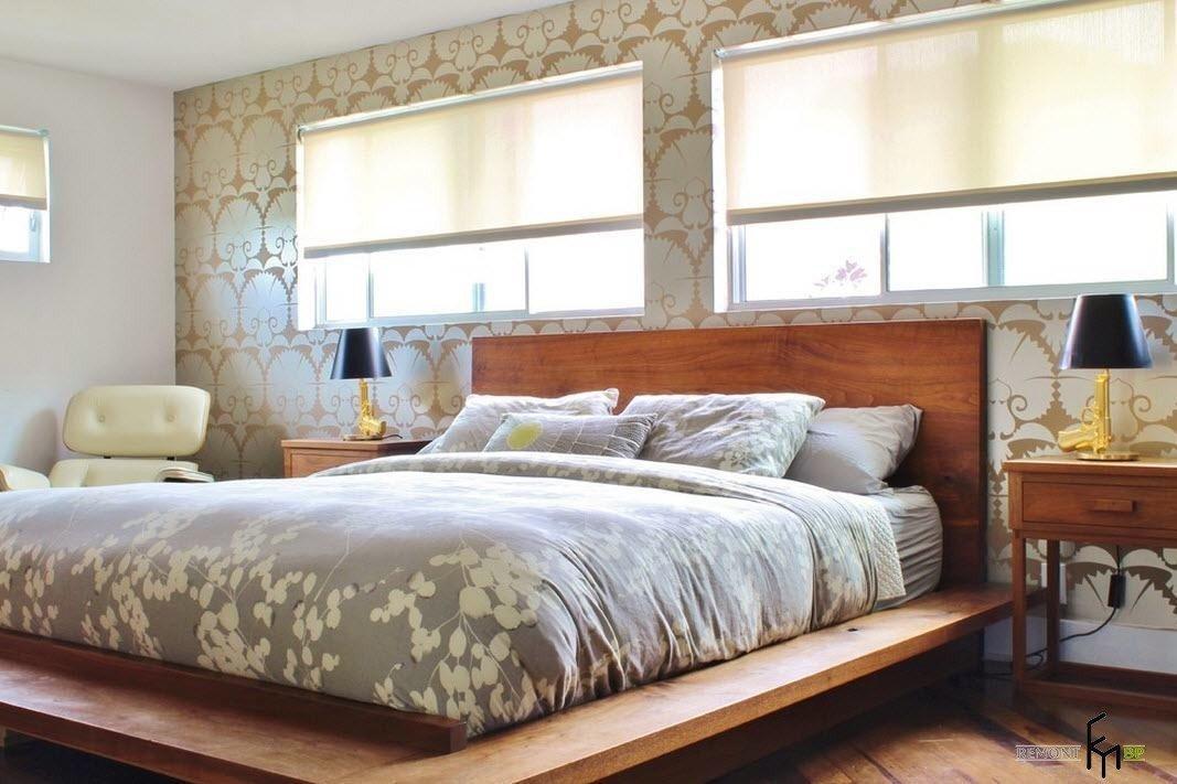кровать изголовьем к окну эко стиль