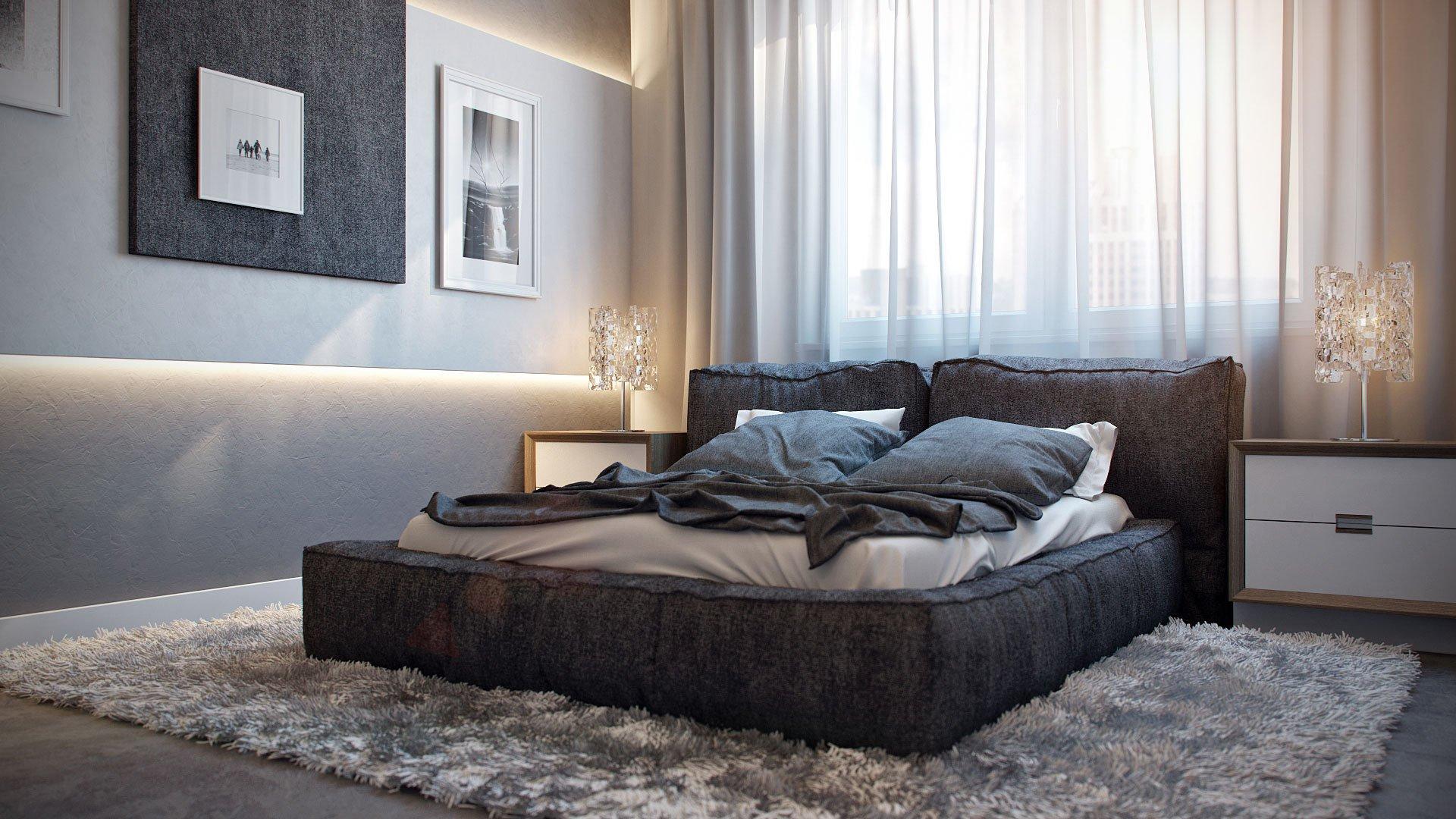 кровать изголовьем к окну модерн
