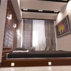 спальня с кроватью у окна минимализм