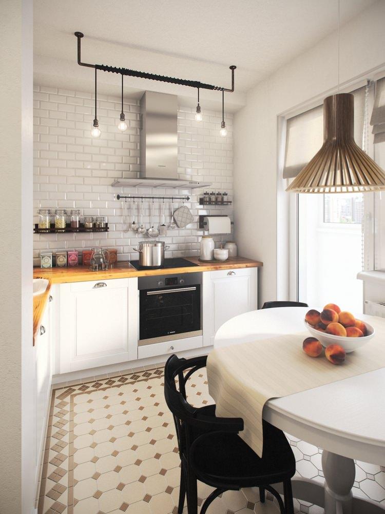 Угловая кухня без холодильника в однокомнатной квартире