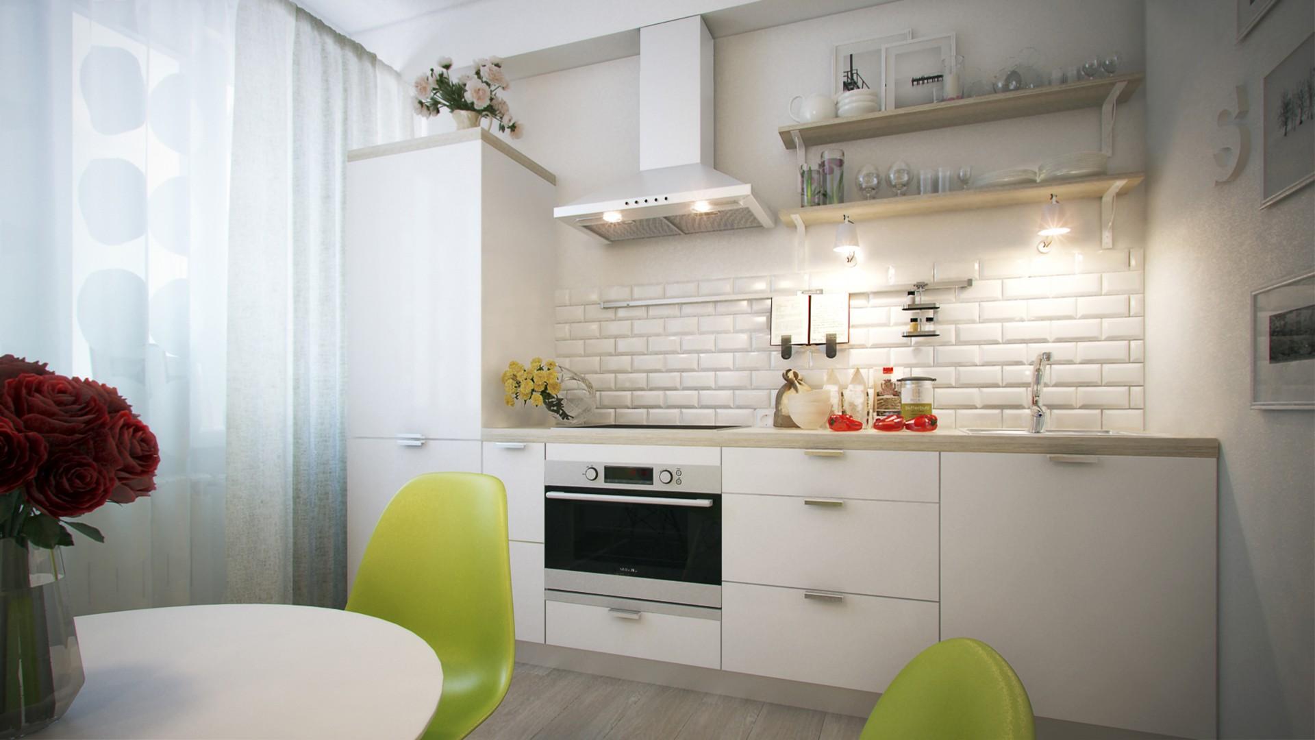 кухня без верхних шкафов с полками
