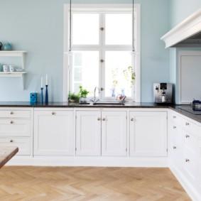 кухня без верхних шкафов светлый дизайн