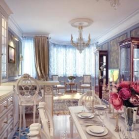 Дизайн кухни-гостиной в стиле классицизма