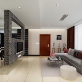 Серый диван на керамическом полу