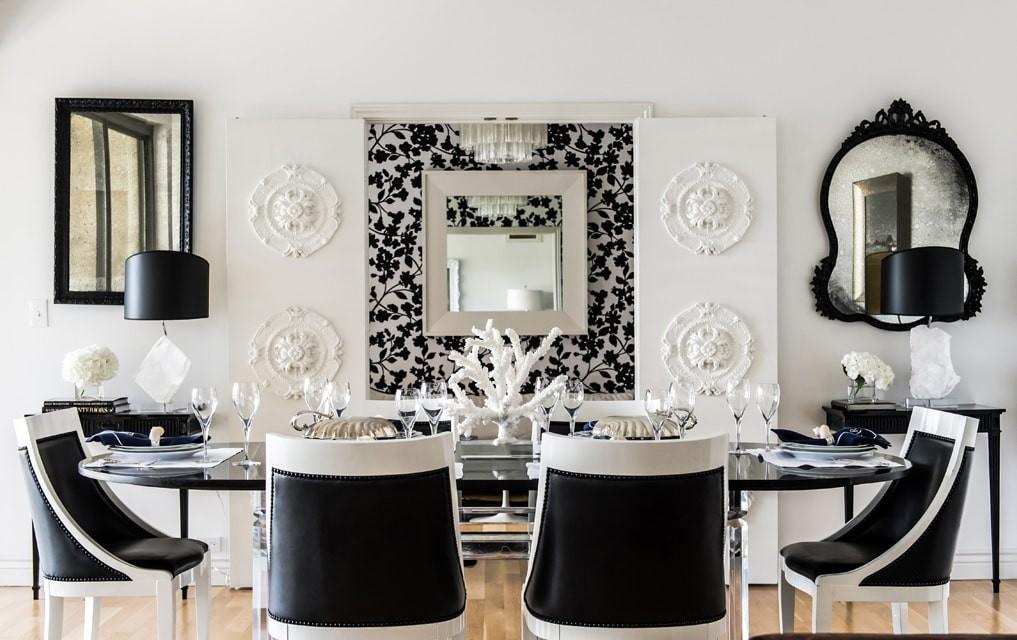 Столовая зона на кухне-гостиной в стиле арт деко