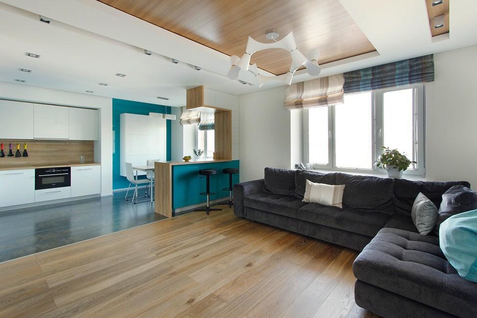 Деревянный пол кухни-гостиной в стиле минимализм