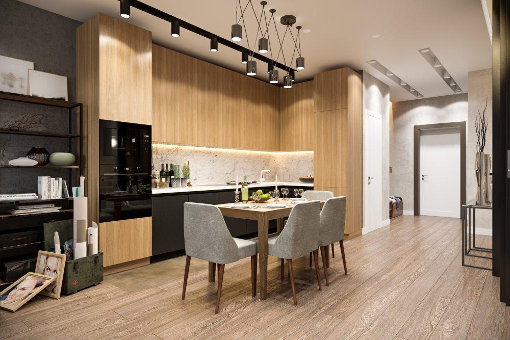 Рабочая зона кухни-гостиной в стиле модерн