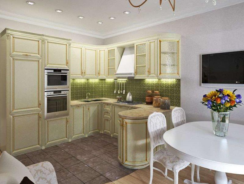 Дизайн компактной кухни-гостиной в стиле классика