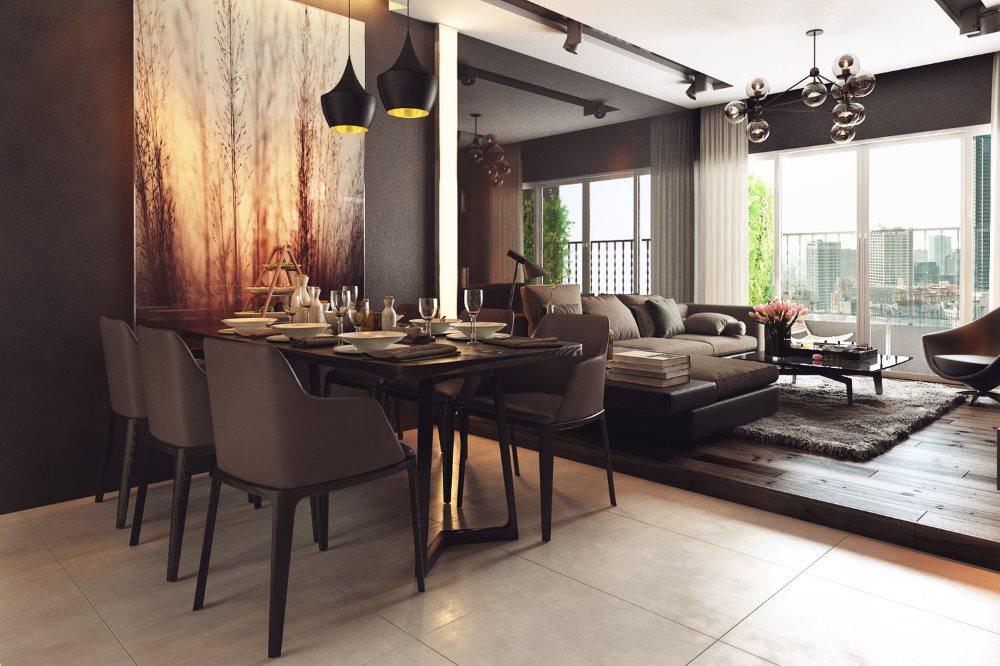 Деревянный настил в кухне-гостиной стиля модерн
