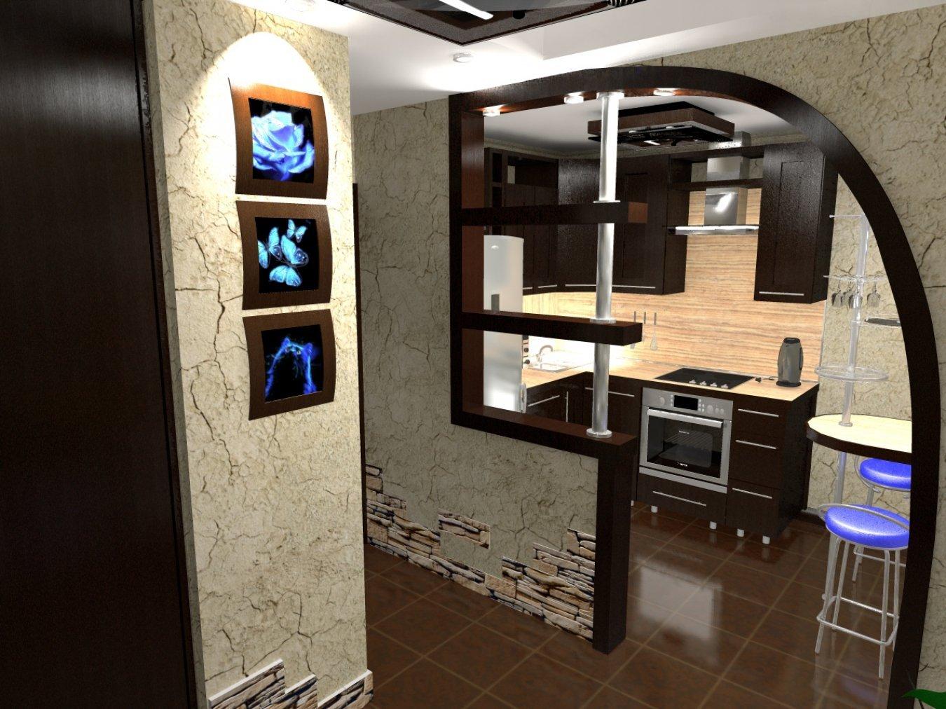 кухня с аркой и барной стойкой