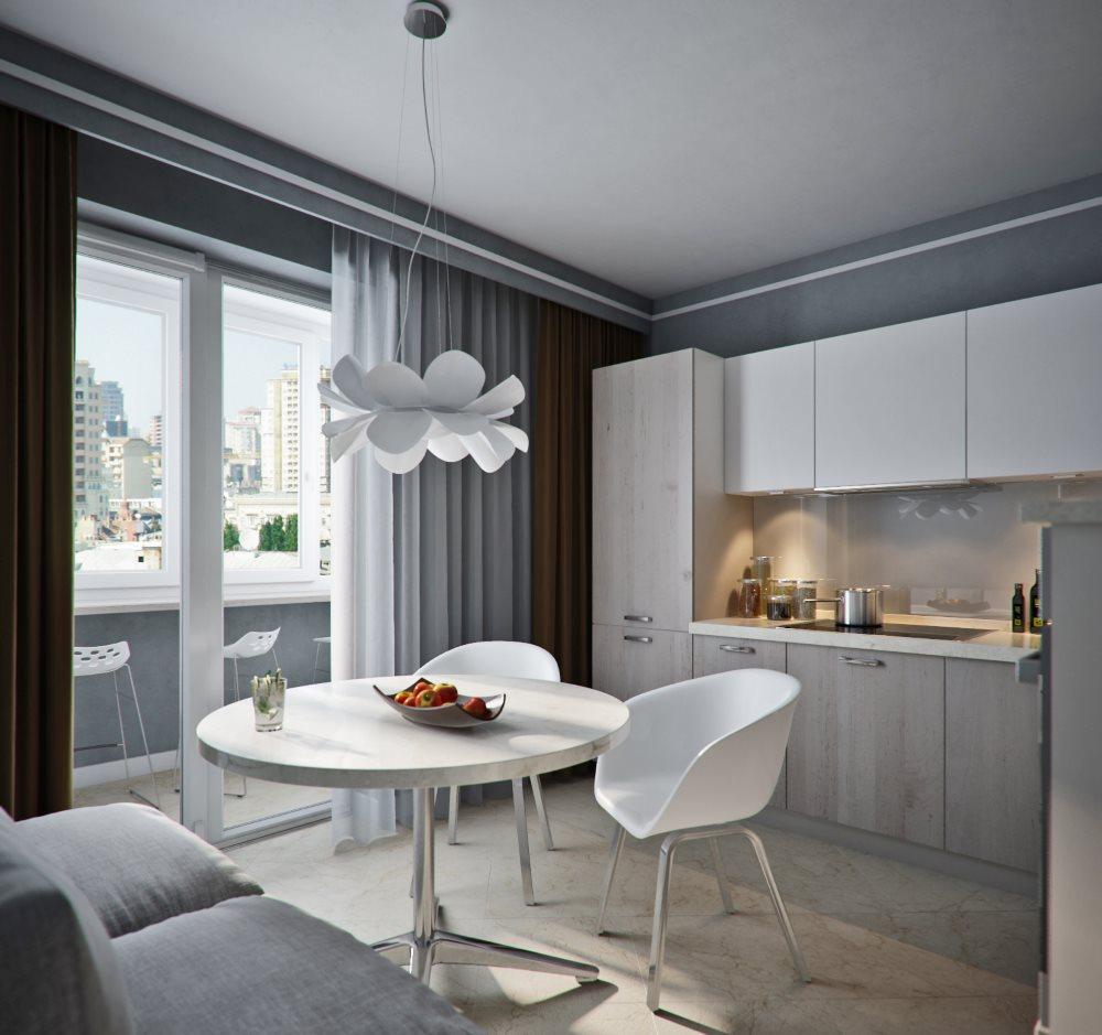 Дизайн кухни с балконом в стиле минимализма