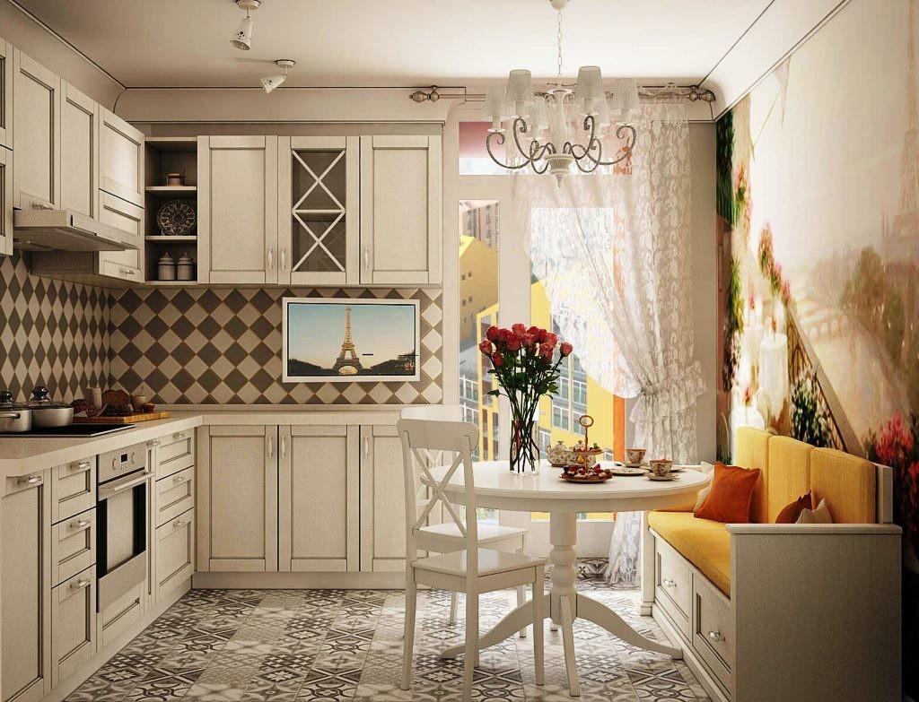 Дизайн кухни с балконом в стиле прованс