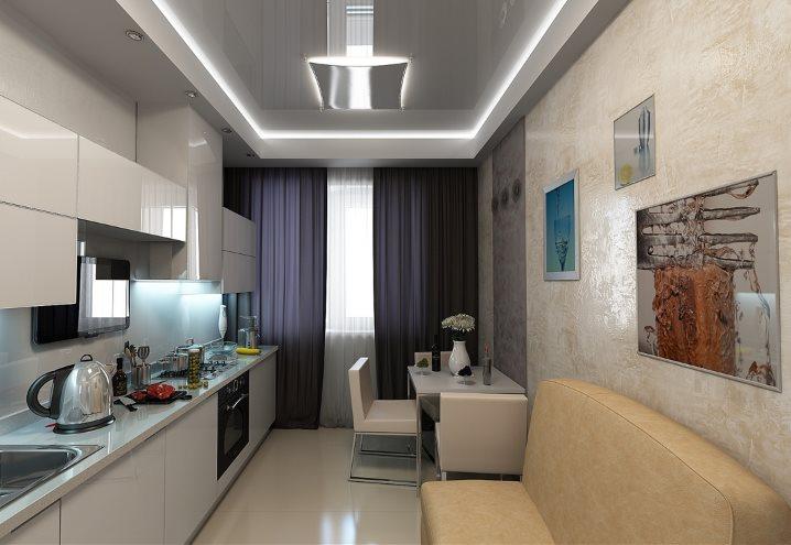 Неоновая подсветка потолка небольшой кухни-гостиной