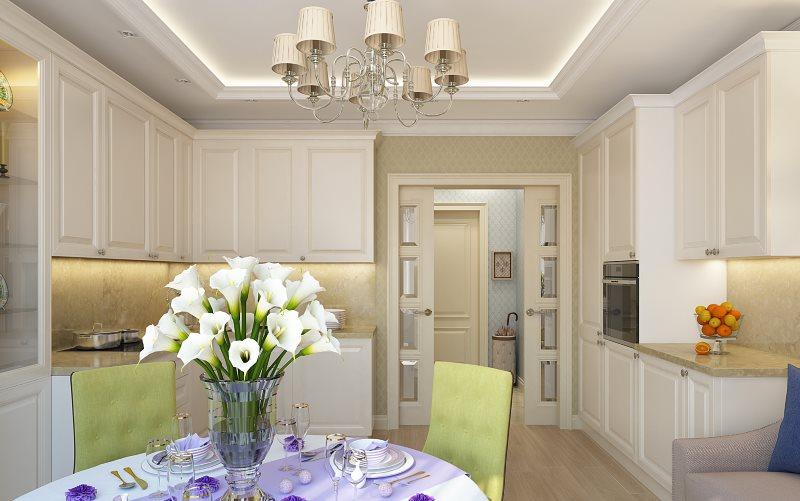 Белые цветы на столе кухни-гостиной