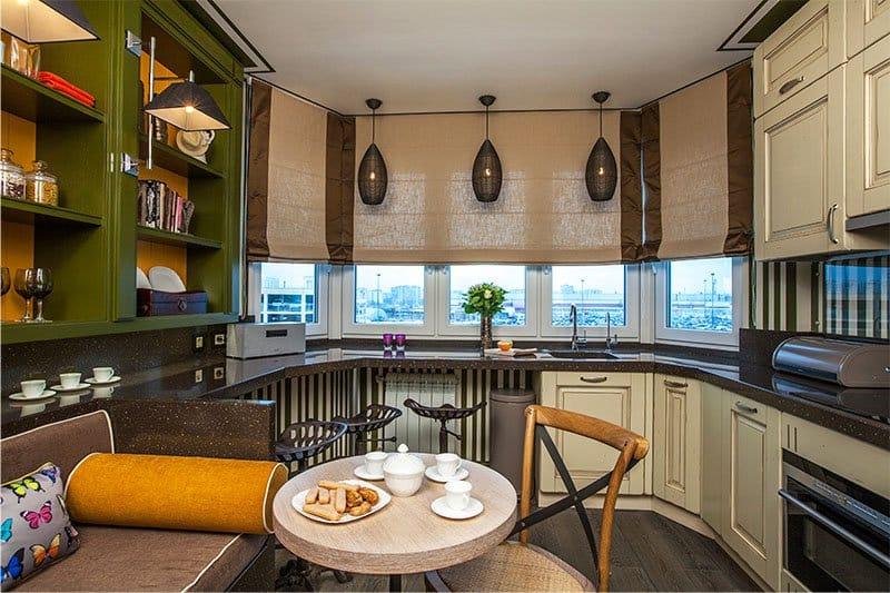 кухня с эркером идеи дизайн