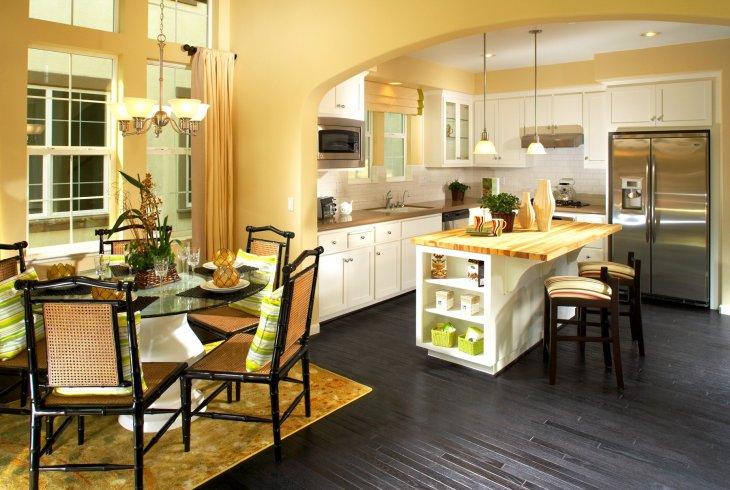 кухня с круглым столом дизайн фото