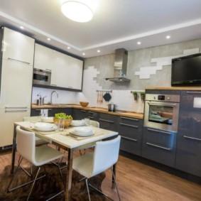 Двухуровневый потолок современной кухни