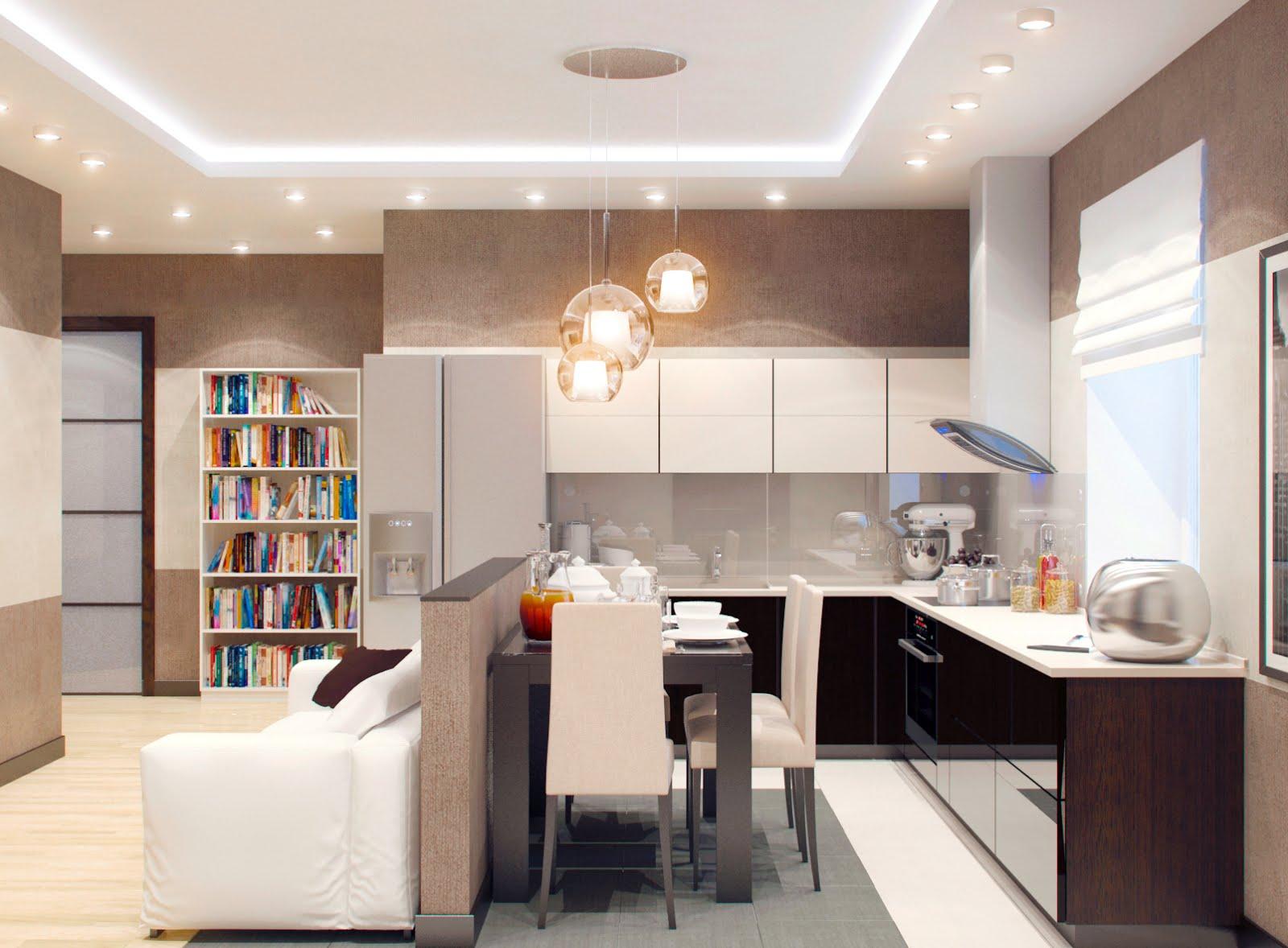 кухня совмещенная с залом идеи