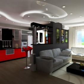 кухня совмещенная с залом интерьер