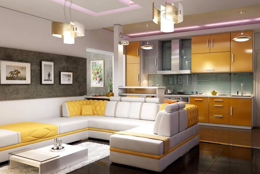 кухня совмещенная с залом интерьер фото