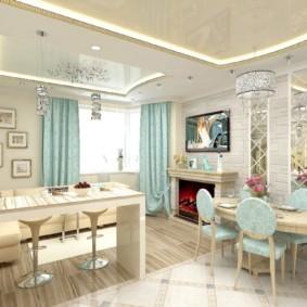 кухня совмещенная с залом оформление