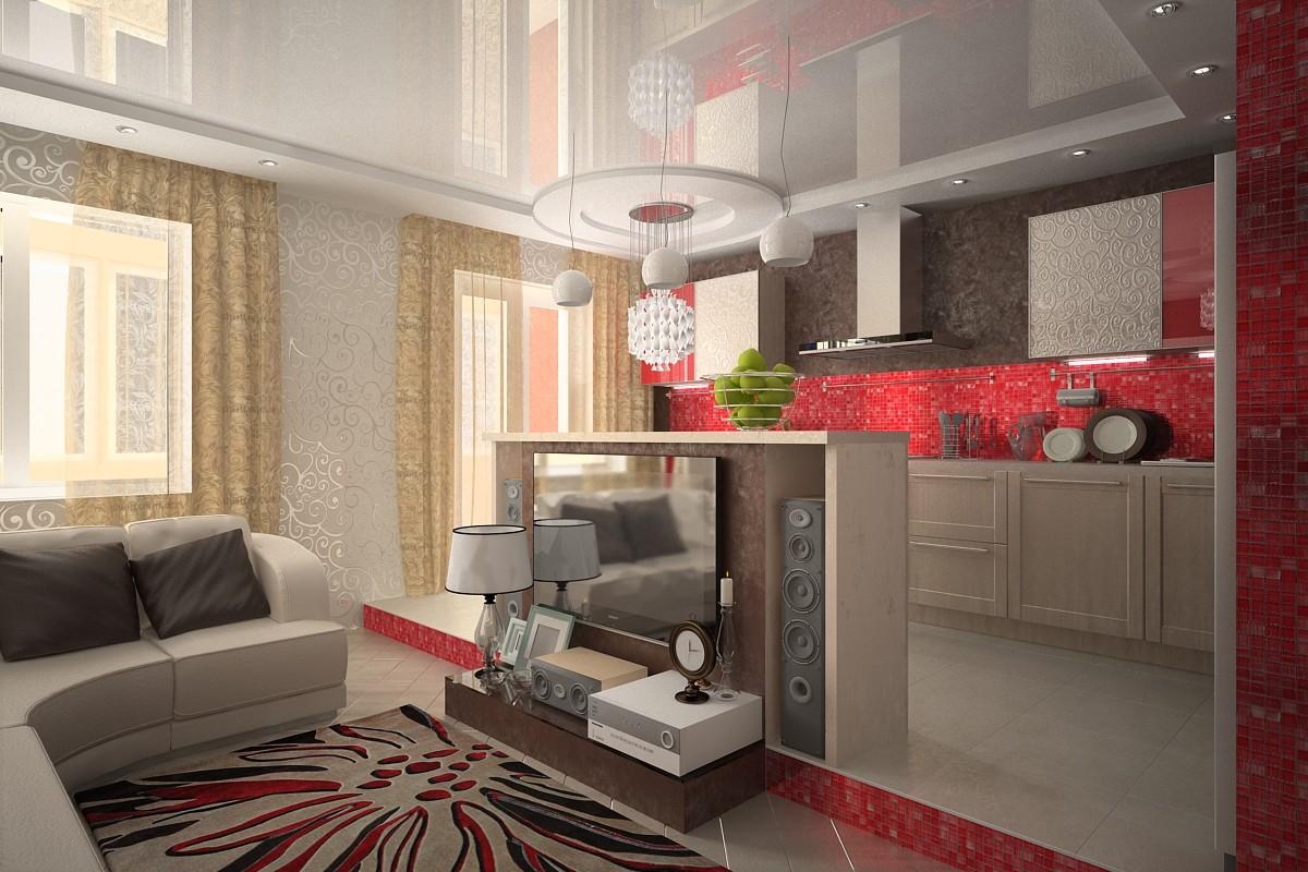 кухня совмещенная с залом фото интерьер