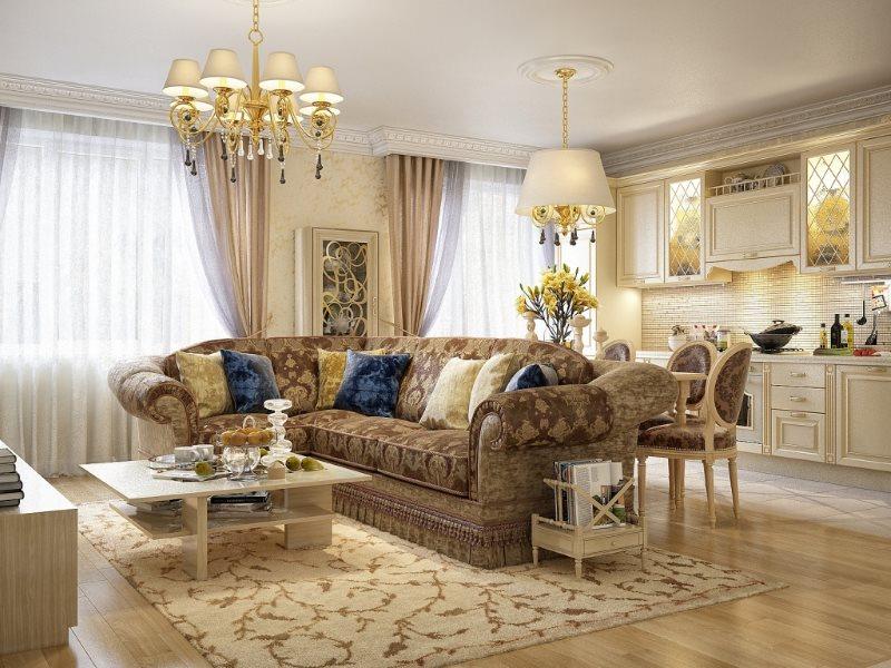 Дизайн кухни столовой гостиной в стиле классика