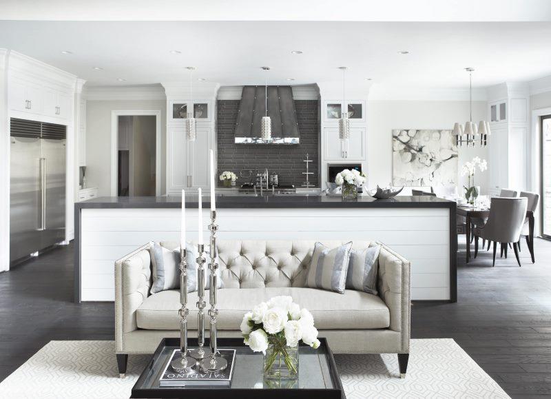 кухня студия в квартире зонирование мебелью
