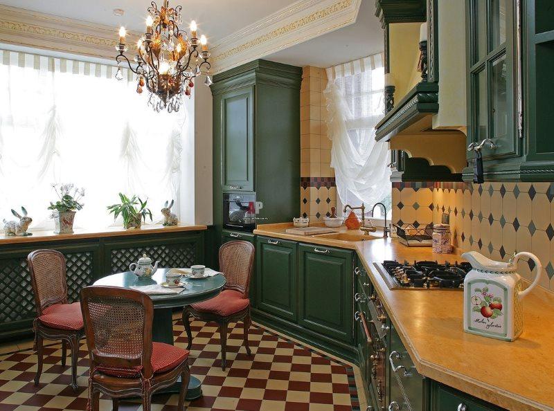 Интерьер кухни площадью 13 кв м в английском стиле
