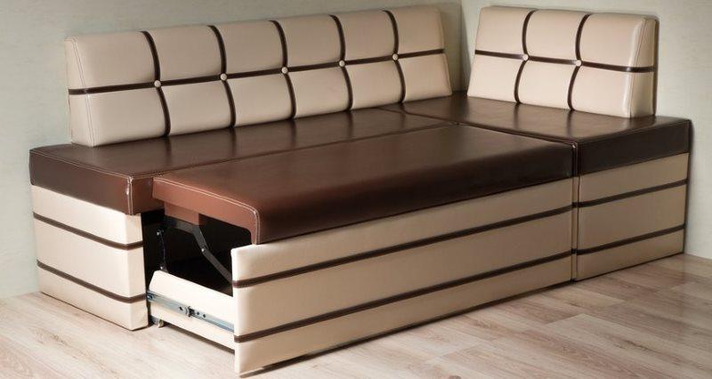 Кухонный диван Дельфин с коричневой обивкой