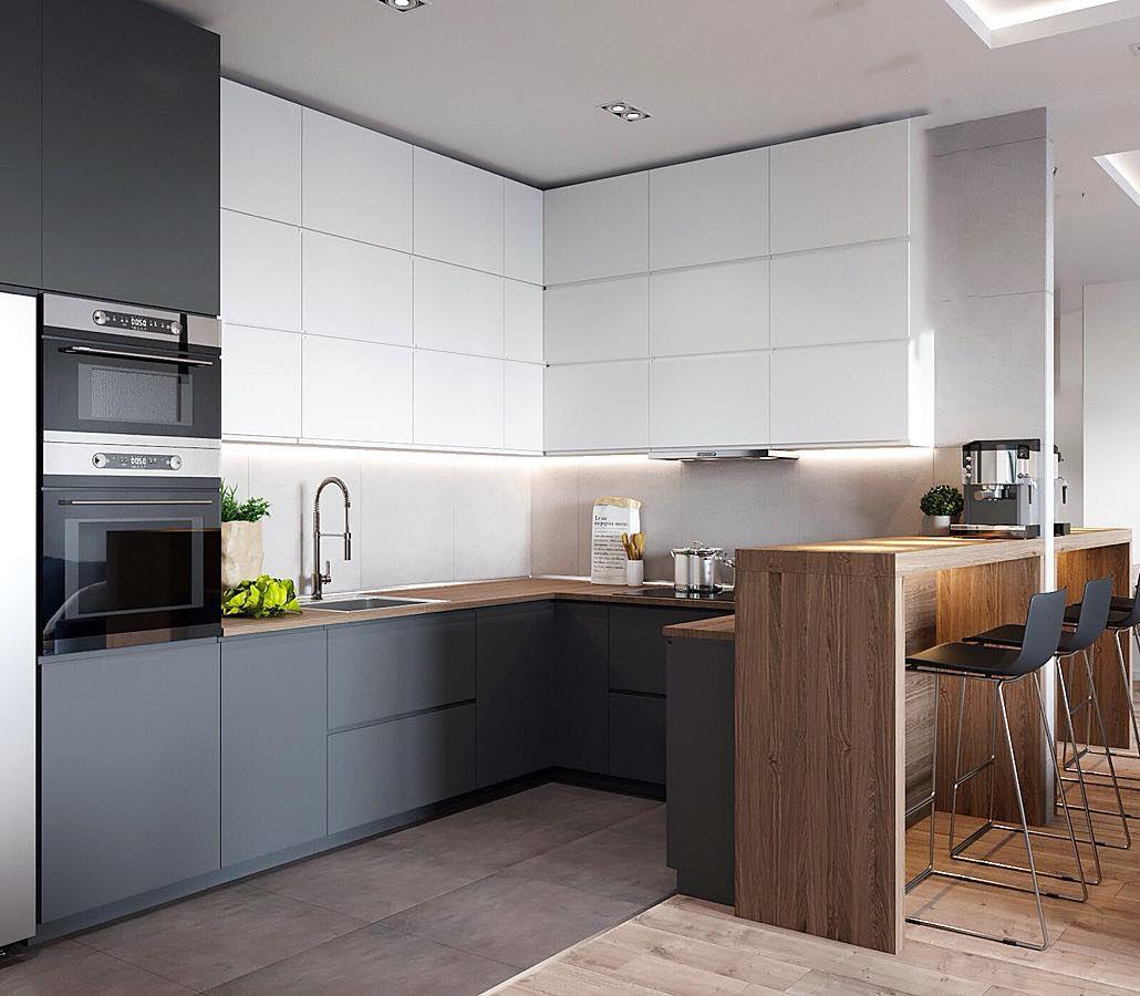 кухонный гарнитур с барной стойкой дизайн фото