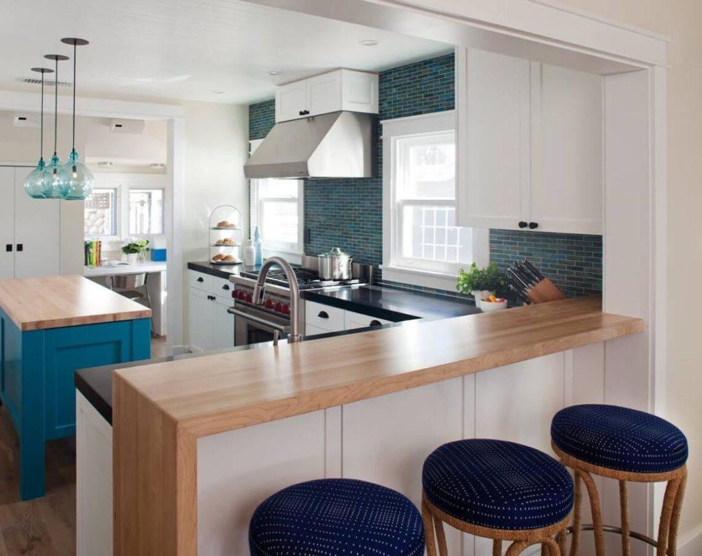 кухонный гарнитур с барной стойкой дизайн идеи