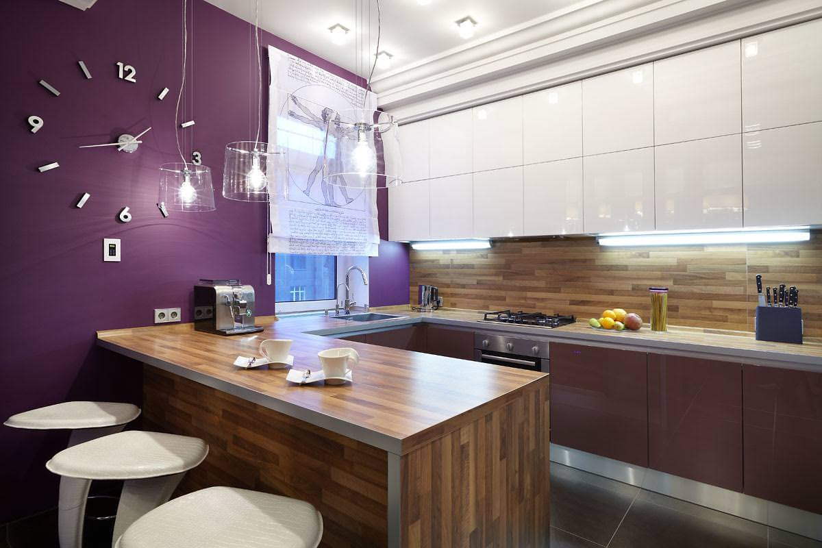кухонный гарнитур с барной стойкой интерьер фото