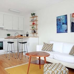 кухня гостиная 22 квадратных метра фото интерьера